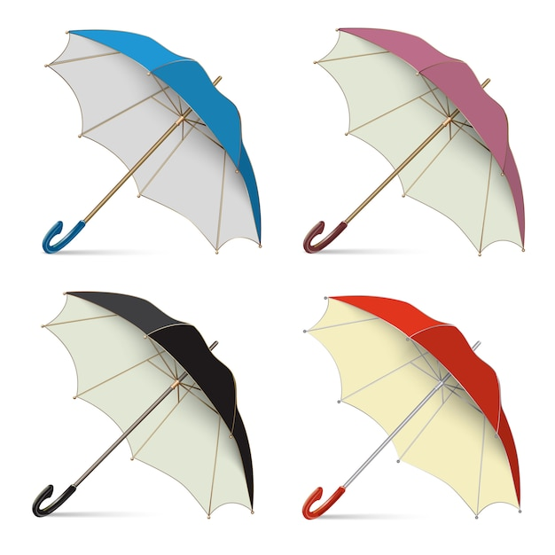 Set of umbrellas from the rain, open stand on the floor Premium Vector