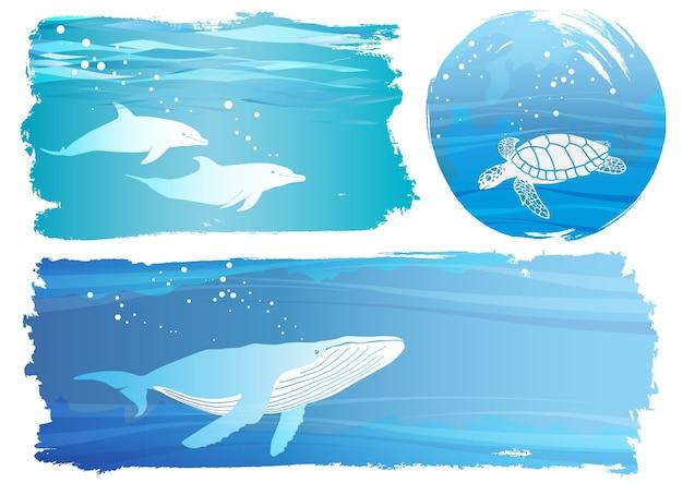 Insieme delle illustrazioni del fondo di vettore sottomarino isolate Vettore gratuito