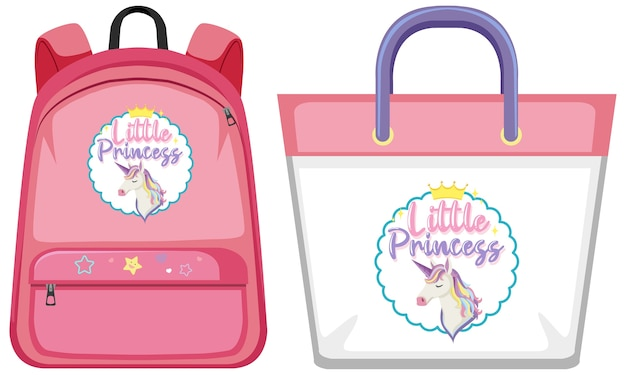 Set of unicorn bag Premium Vector