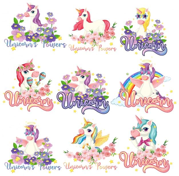 Set of unicorn banner Free Vector
