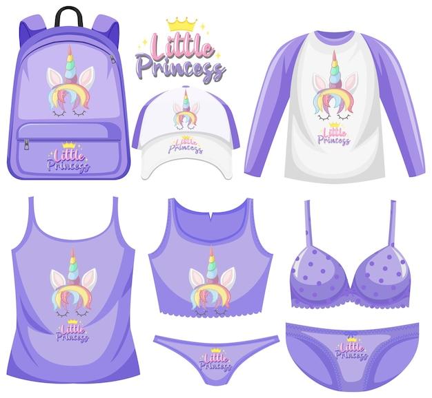 Set unicorn children costume Premium Vector