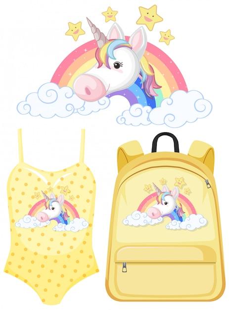 Set of unicorn outfit Premium Vector