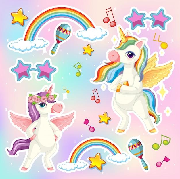 Set di unicorno o pegasus con icona tema musicale su sfondo di colore pastello Vettore gratuito