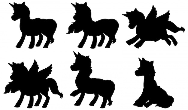 Set of unicorn silhouette Free Vector