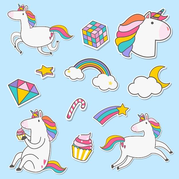 Set of unicorn stickers vector Free Vector