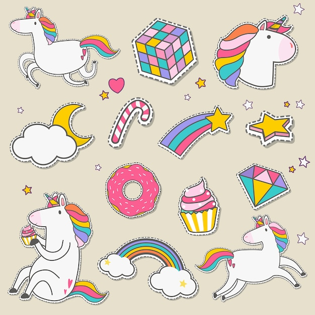 Set of unicorn stickers vector Free Vector