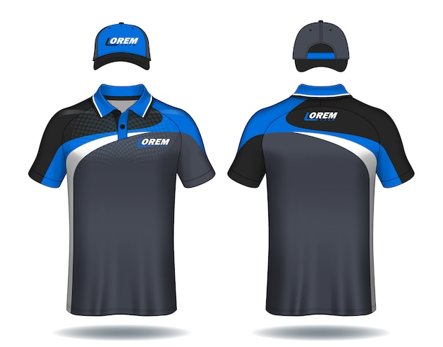 Set of uniform template polo shirts and caps. Premium Vector