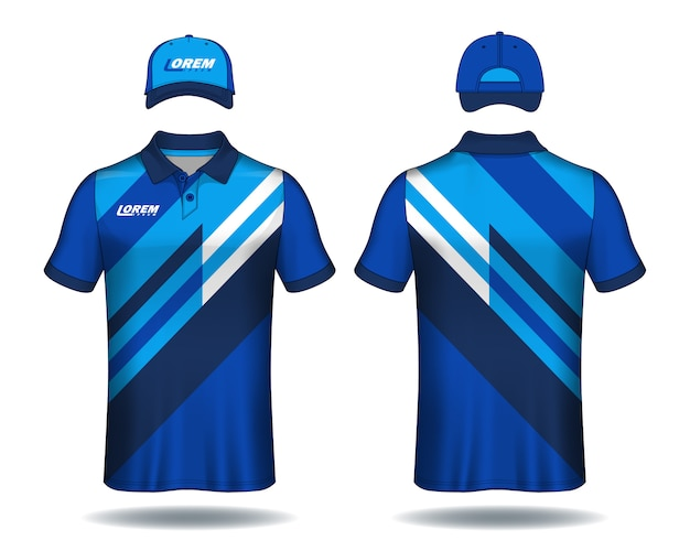 Set of uniform template polo shirts and caps. Premium Vector