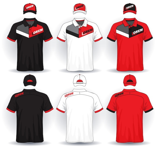 Set of uniform template, polo shirts and caps. Premium Vector