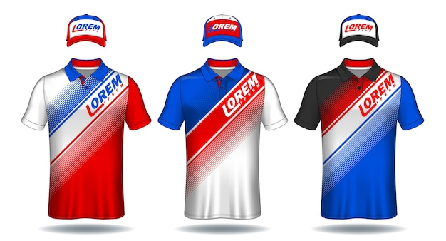 Set of uniform template, polo shirts and caps. Premium Vector