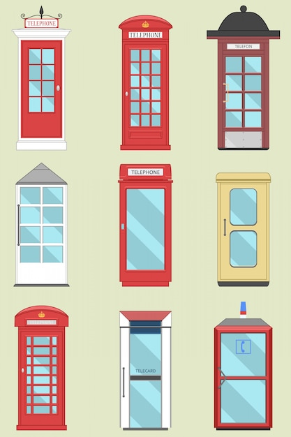 Set of united kingdom telephone boxes from england, scotland and ireland  london box, british telegraph Premium Vector