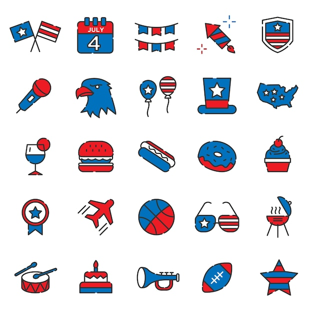 Set of united state of america independence days Premium Vector
