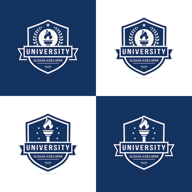 Set of university logo template Premium Vector