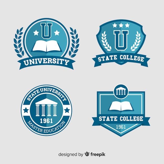 Set of university logos in flat style Free Vector