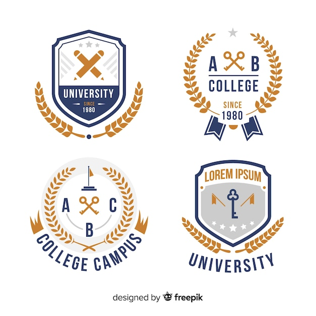 Set of university logos in flat style Free Vector
