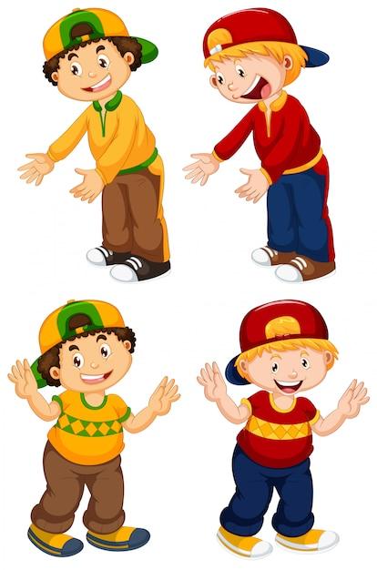 Set of urban boy character Free Vector