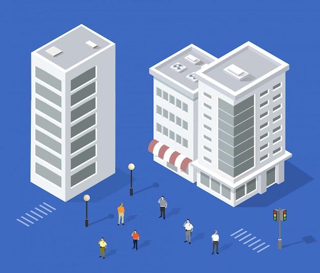 Set of urban houses Premium Vector