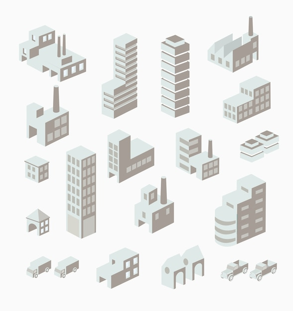 A set of urban and industrial buildings in the isometric Premium Vector