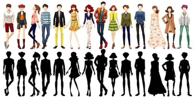 Set di caratteri di persone urbane e la sua silhouette Vettore gratuito