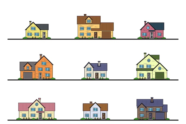Set of urban and suburban cottage style residential houses, thin line icons. Premium Vector