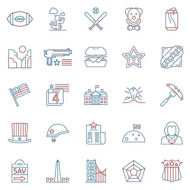 Set of usa culture two color outline icons Premium Vector