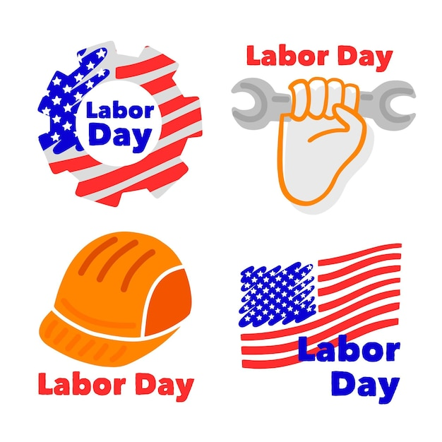 Set of usa labour day badges Free Vector