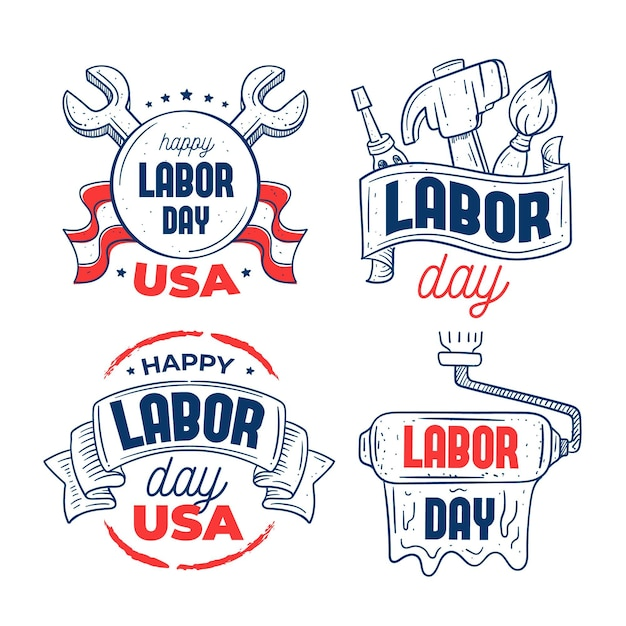 Set of usa labour day labels Free Vector