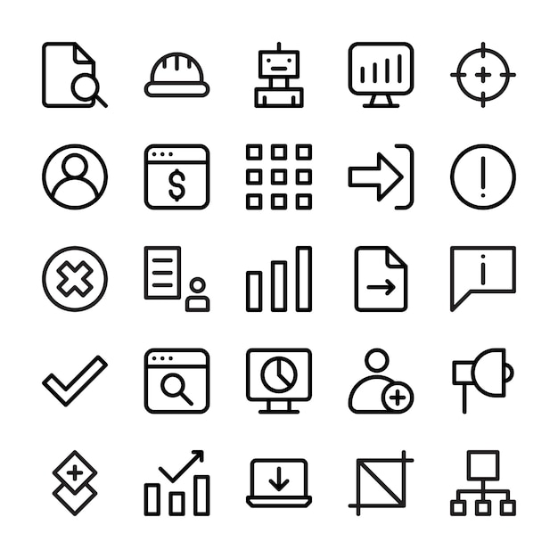 A set of user interface line icons Premium Vector
