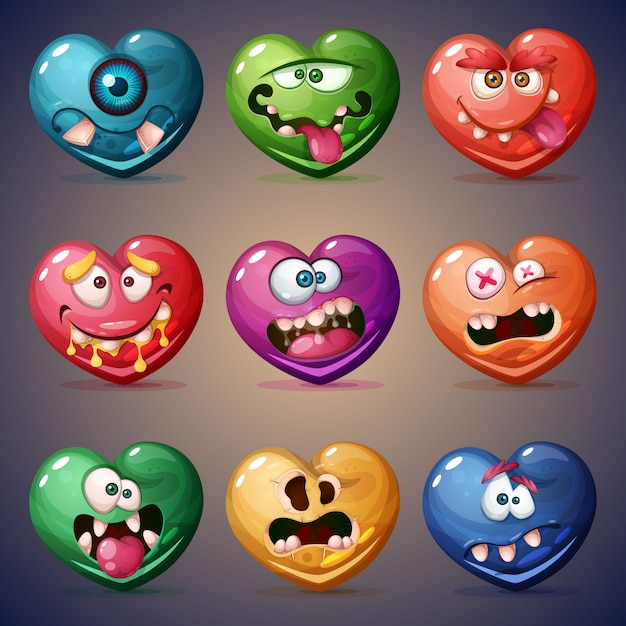 Set valentine heart. love illustration Premium Vector