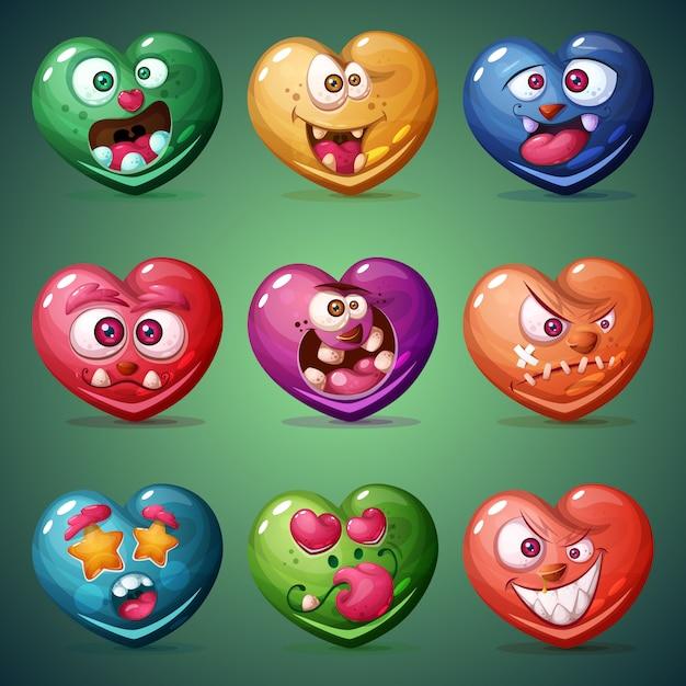 Set valentine heart Premium Vector