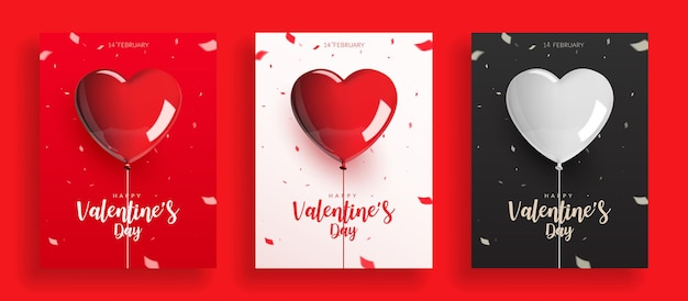 Set of valentine's day, balloons with rope and confetti. Premium Vector