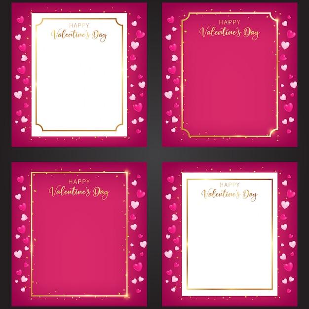 A set of valentine's day sweet frames Premium Vector