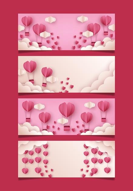 Set of valentines banner template for media social Premium Vector