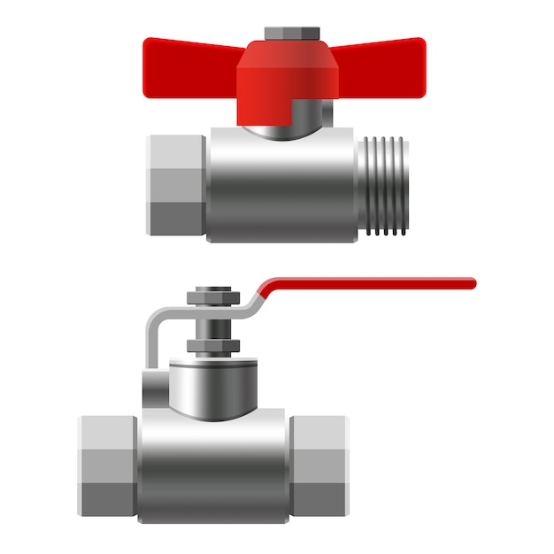 Set valves ball, fittings, pipes of metal piping system. different types valves water, oil, gas pipeline, pipes sewage Premium Vector