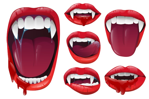 Set vampire lips and mouth Premium Vector
