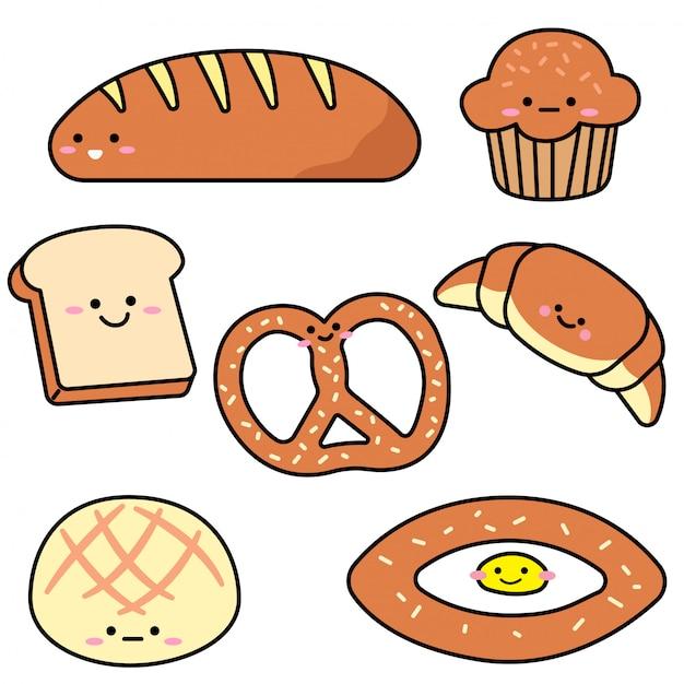 Set of variety bread Premium Vector