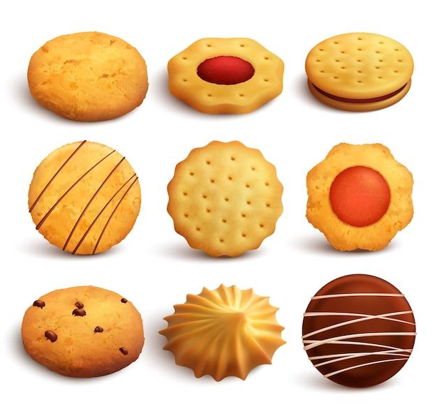 Insieme dei biscotti di varietà cotti da farina di frumento isolata su bianco nello stile realistico Vettore gratuito