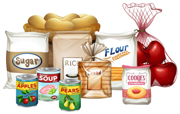Set of a variety of foods Premium Vector