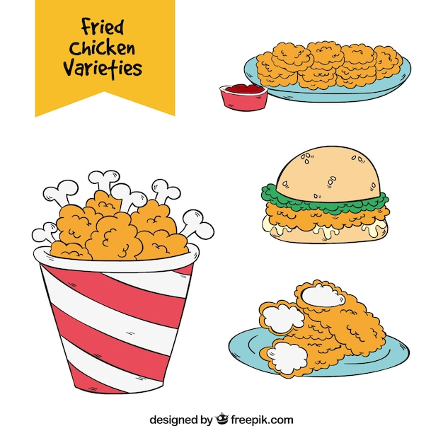 Set of variety of fried chicken in hand-drawn style Free Vector