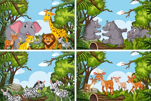 Set of various animals in nature scenes Premium Vector