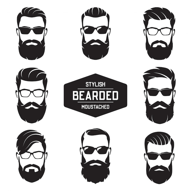 Set of  various bearded men faces. Premium Vector