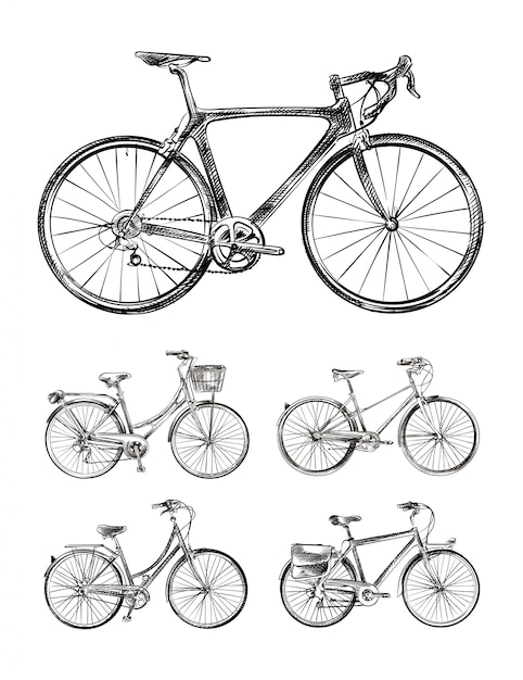 Set of various bikes, bicycles hand drawn sketches Premium Vector