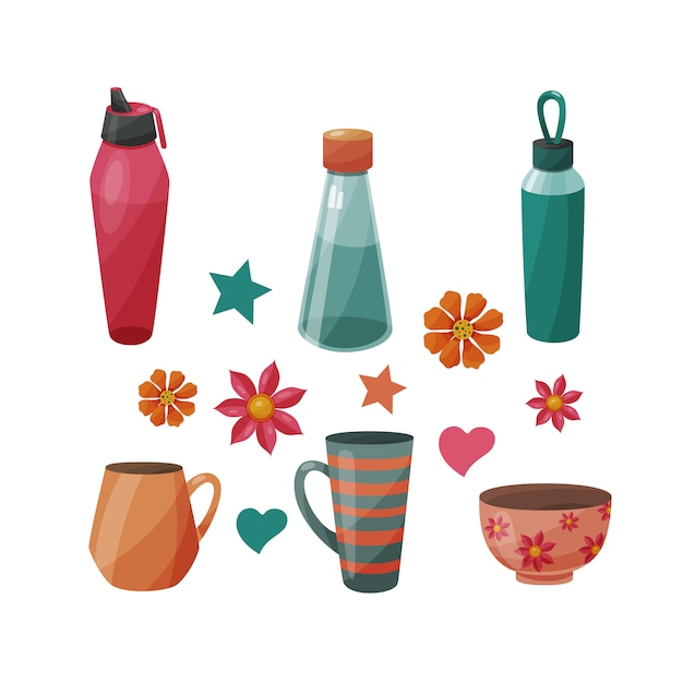 Set of various bottles and cups Premium Vector