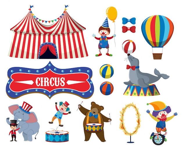 Set of various circus objects Premium Vector