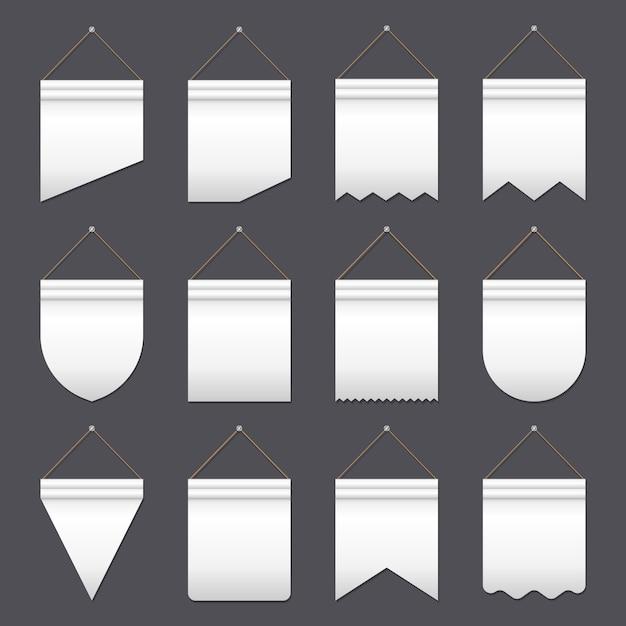 Set of various flags Premium Vector