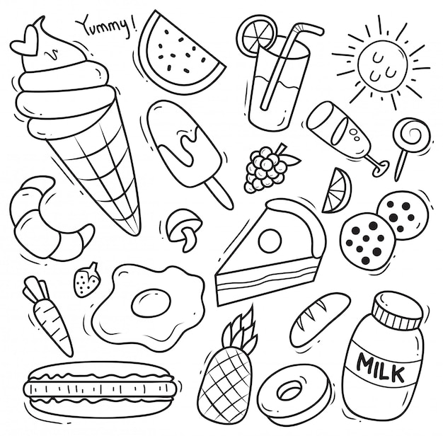 Set of various food in doodle style Premium Vector