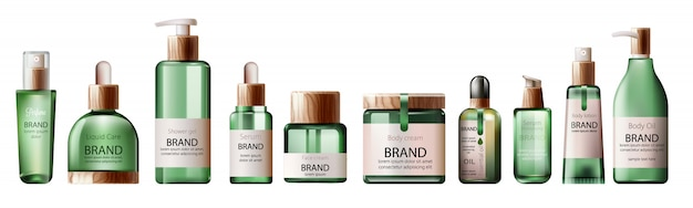 Set of various health care and spa green bottles. body oil, lotion, serum, shower gel and perfume Free Vector