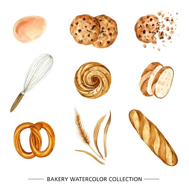 Set of various isolated, watercolor bakery Free Vector
