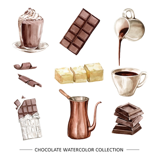 Set of various isolated watercolor chocolate Free Vector