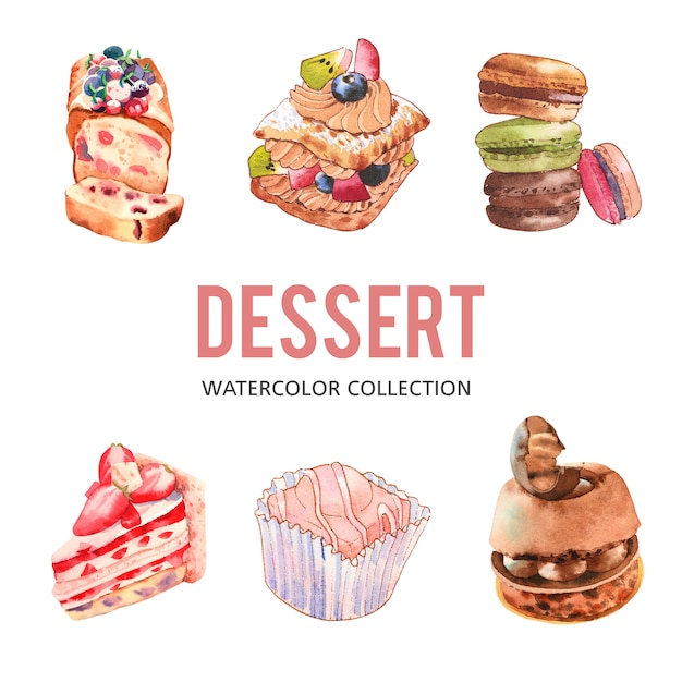 Set of various isolated watercolor dessert illustration Free Vector
